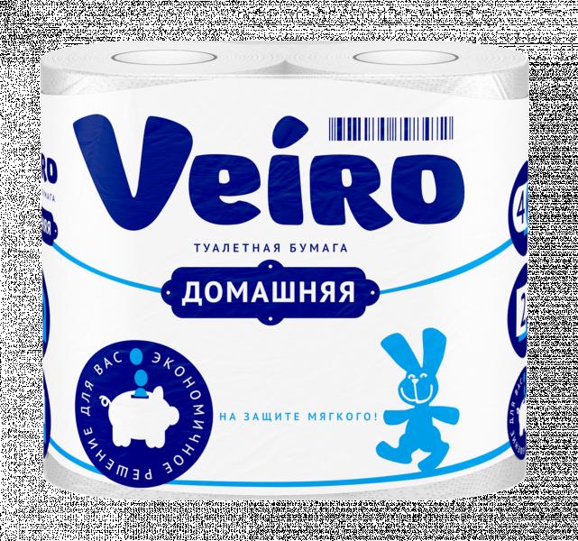 Бумага туалетная Veiro Домашняя, белая, 2-сл., 4 рулона